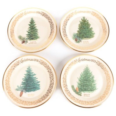 Lenox Christmas Tree Commemorative Issue Annual Porcelain Plates, 1970s
