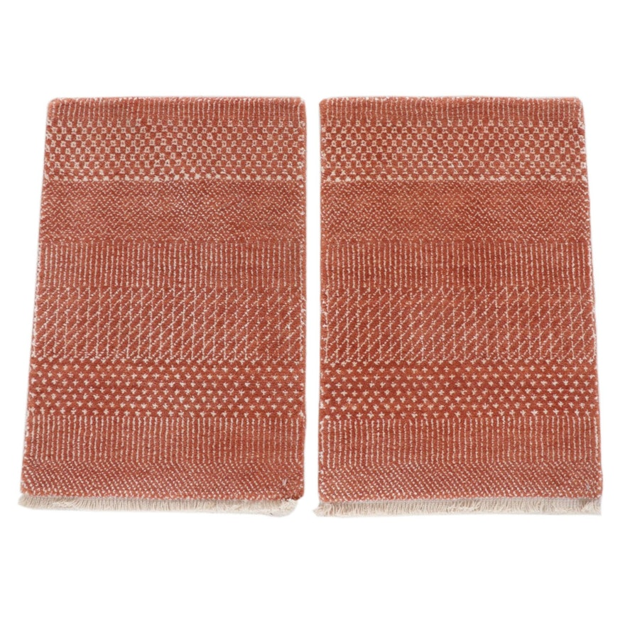 1'4 x 2' Hand-Knotted Indo-Persian Gabbeh Modern Style Rugs, 2010s