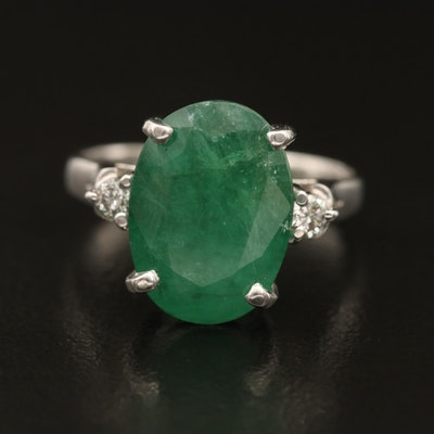 14K 4.08 CT Emerald Diamond Ring