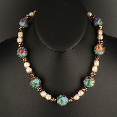 Cloisonné Enamel Bead and Faux Pearl Necklace