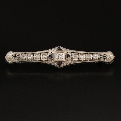 1930s 18K Diamond and Sapphire Bar Brooch