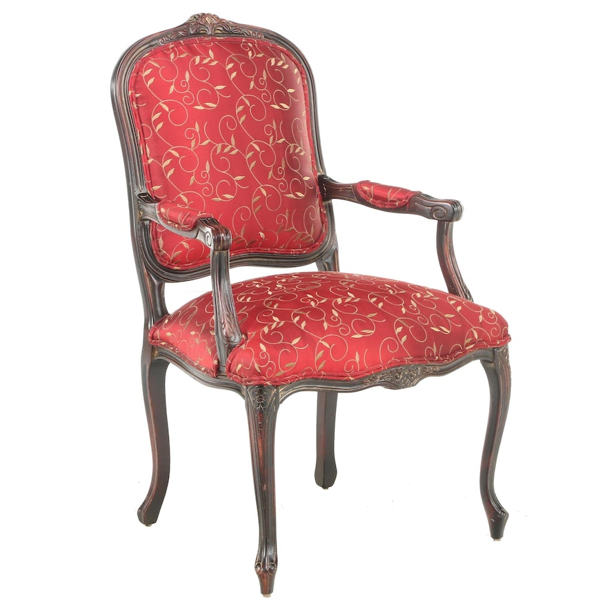 Louis XV Style Parcel-Gilt and Custom-Upholstered Fauteuil