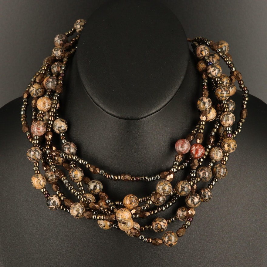 Multi-Strand Beaded Necklace with Jasper and Glass