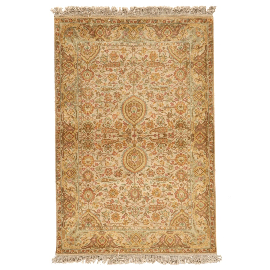 4'2 x 6'9 Hand-Knotted Indian Tabriz Area Rug