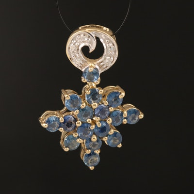 Sterling Sapphire and Zircon Star Pendant