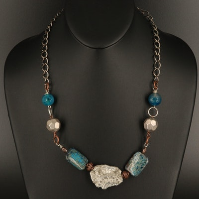 Agate and Jasper Bead and Two-Tone Necklace