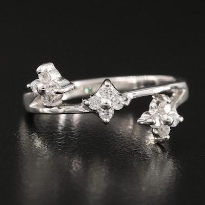 Sterling Silver Zircon Florets Ring