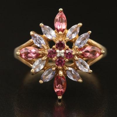 10K Tourmaline, Diamond and Gemstone Openwork Ring