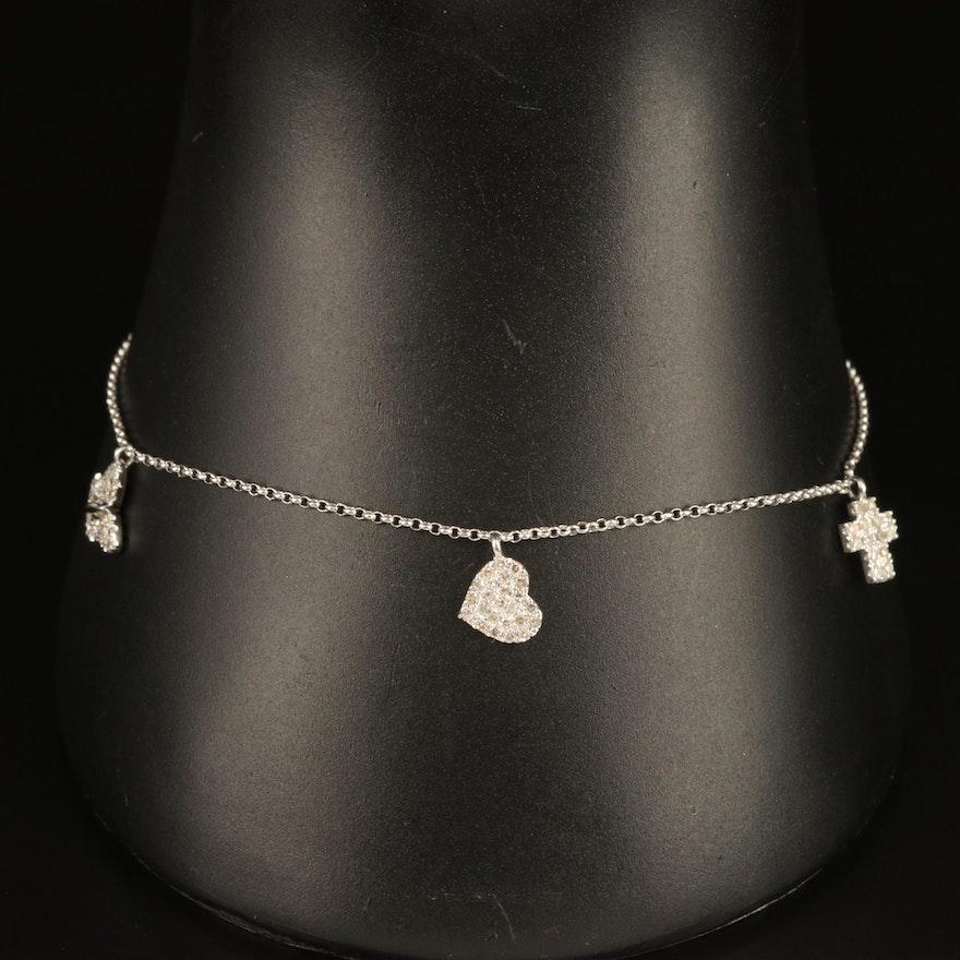 14K 0.26 CTW Diamond Cross, Heart and Butterfly Charm Bracelet