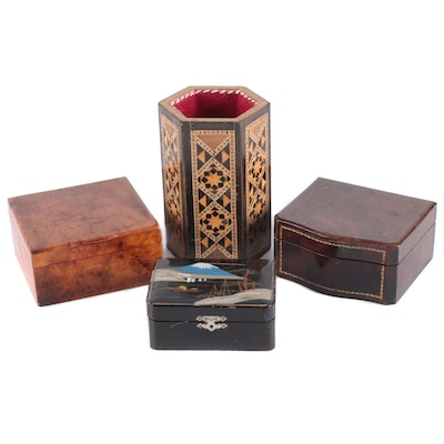 Japanese Hand-Painted Sewing Box with Other Wood Hinged Boxes and Pen Holder