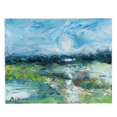 """Claire McElveen Oil Painting """"Marsh Afternoon,"""" 2021"""