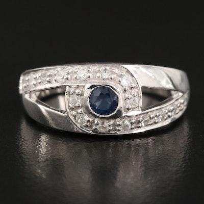 Sterling Sapphire and Zircon Split Shoulder Ring
