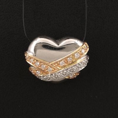 Platinum 0.24 CTW Diamond Heart Pendant with 18K Tri-Color Gold Accents