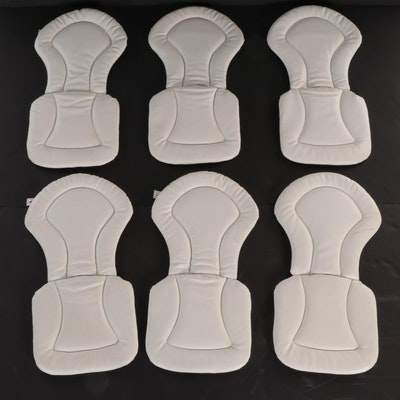 Six Mid Century Modern White Vinyl Chair Cushions with Snaps