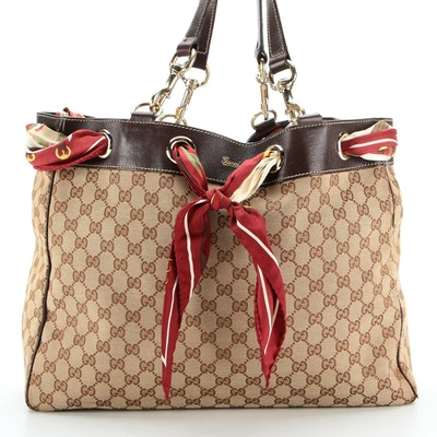 Gucci Large Positano Tote Bag in Monogram Canvas with Woven Scarf Detail