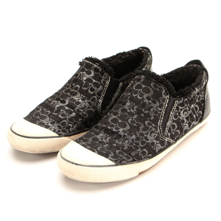 Coach Slip-On Sneakers in Metallic CC Canvas with Fleece Lining