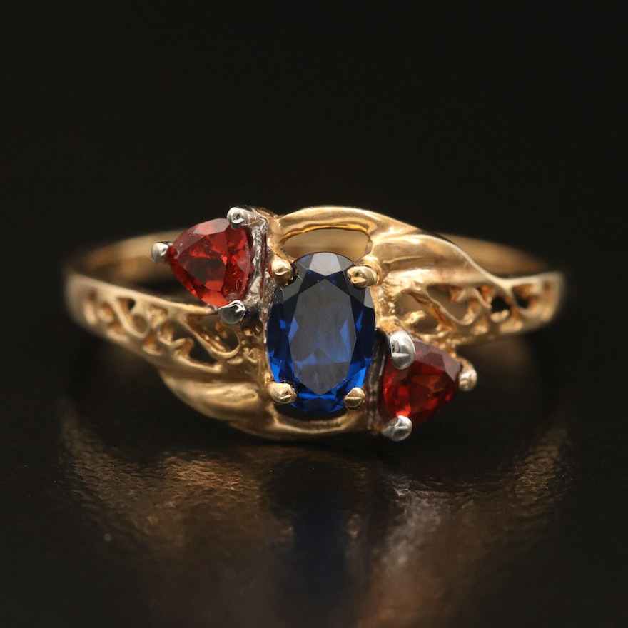 10K Spinel and Garnet Three Stone Ring with Scrollwork Detail