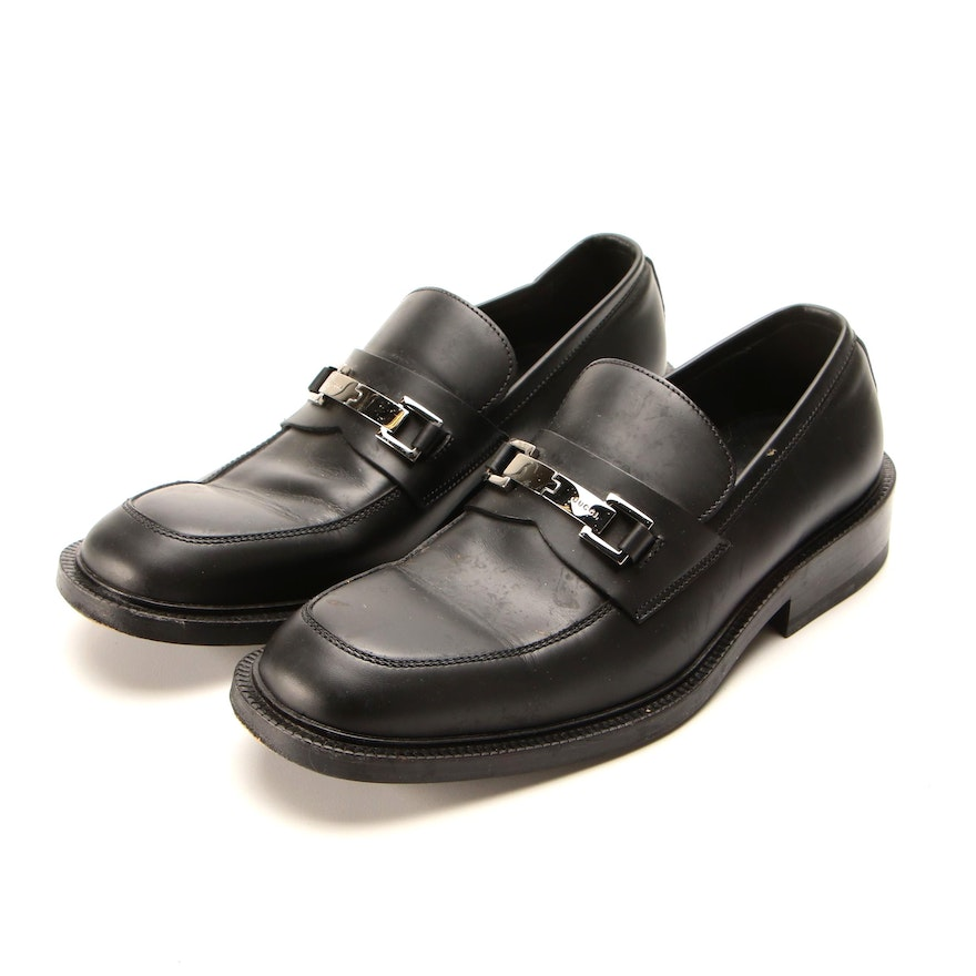 Men's Gucci Loafers with Silver Buckles in Black Leather