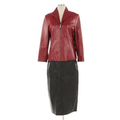 Siena Red Leather Jacket and Deerskin Black Leather Skirt