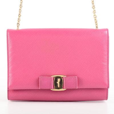 Salvatore Ferragamo Saffiano Leather Ginny Crossbody Bag with Grosgrain Vara Bow
