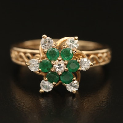 10K Emerald and Sapphire Floral Ring with Open Scrollwork Shoulders