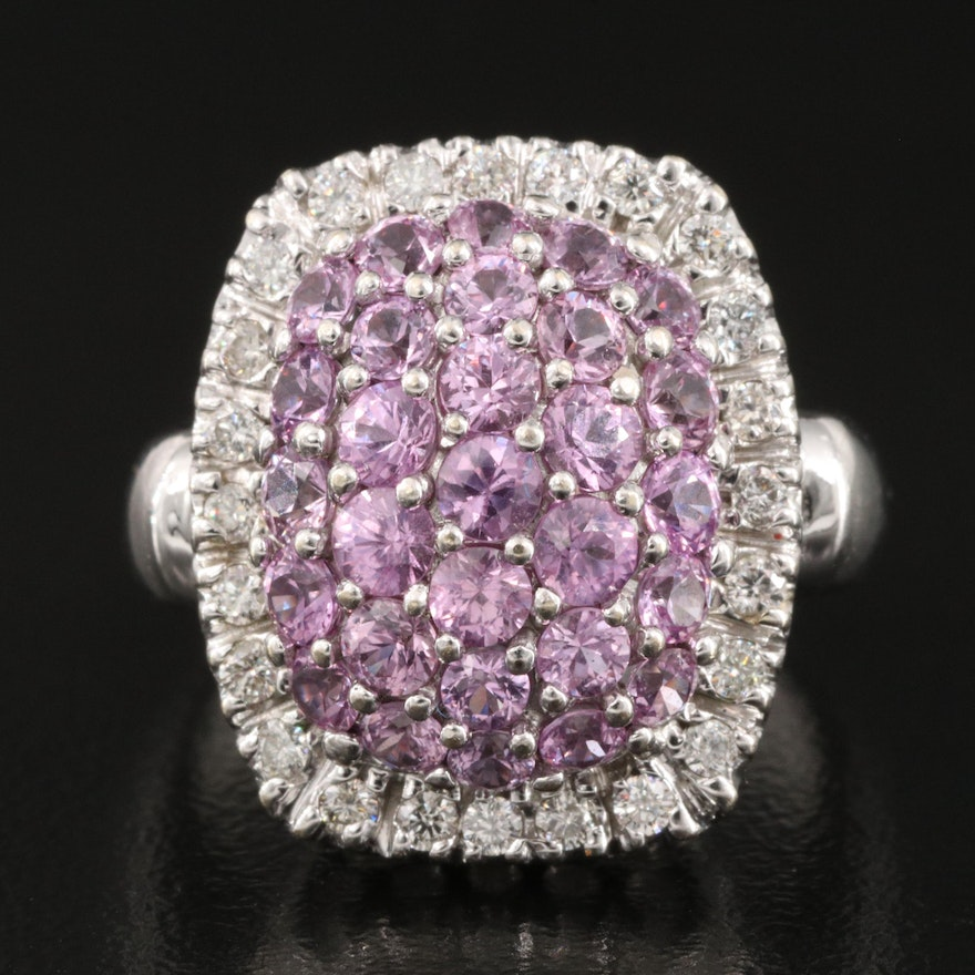 14K Pink Sapphire and Diamond Cluster Ring