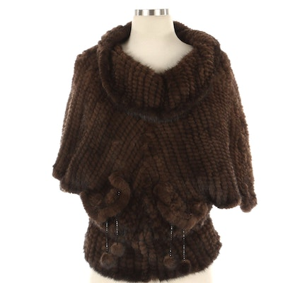 Knitted Mink Fur Dolman-Sleeve Cropped Cowl-Neck Poncho