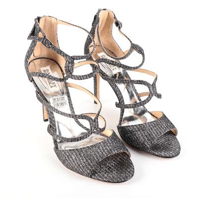 Badgley Mischka High Heel Sandals in Black/Silver Metallic