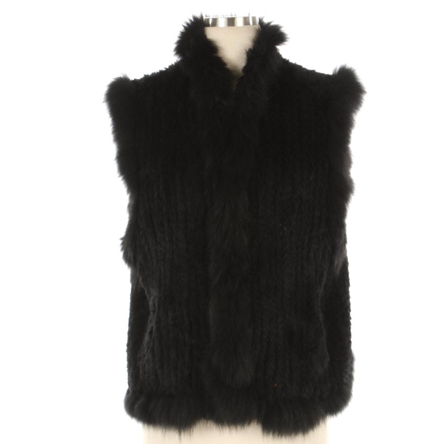 Bella Fare Dyed Black Rabbit Fur Vest with Fox Fur Trim