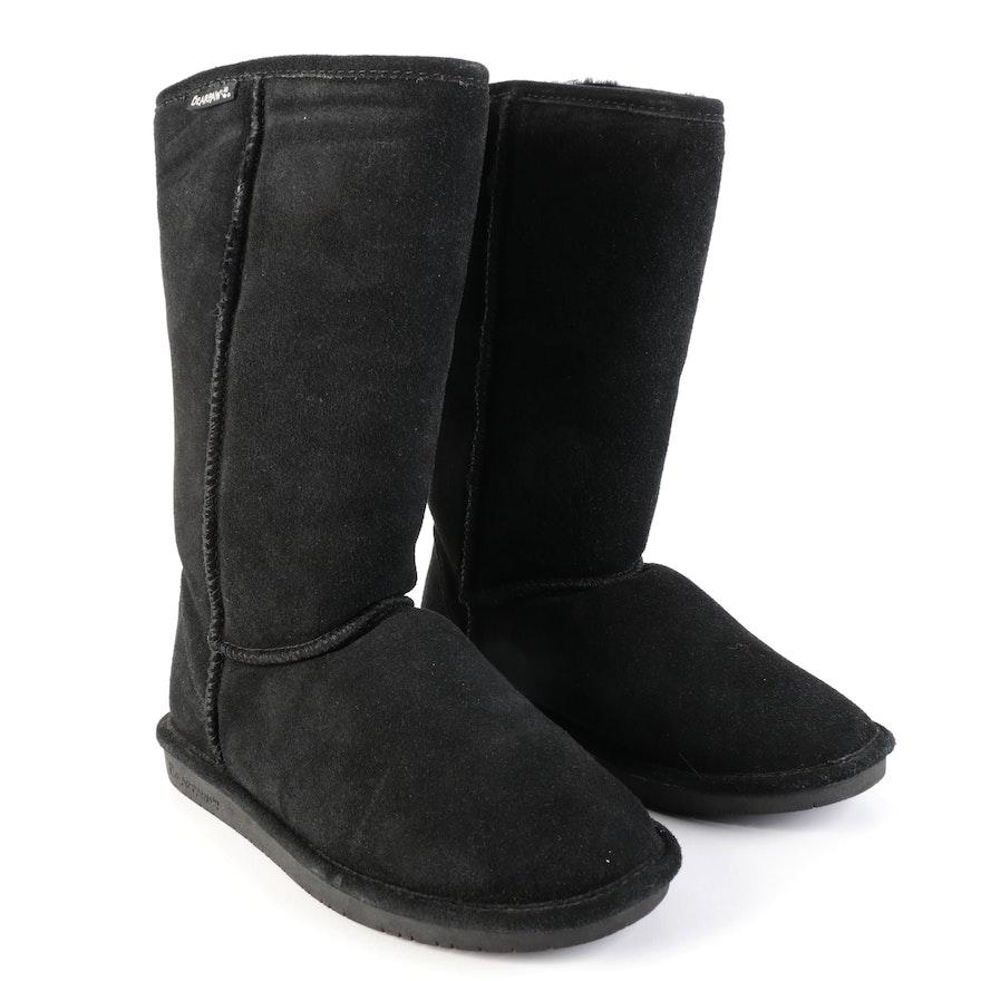 Bearpaw Sheepskin Wool Boots in Black Suede