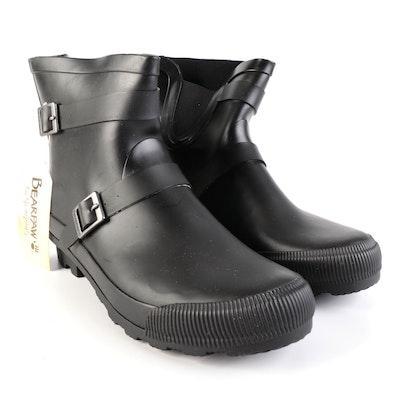 Bearpaw Rain Boots in Black Rubber with Fleece Lining