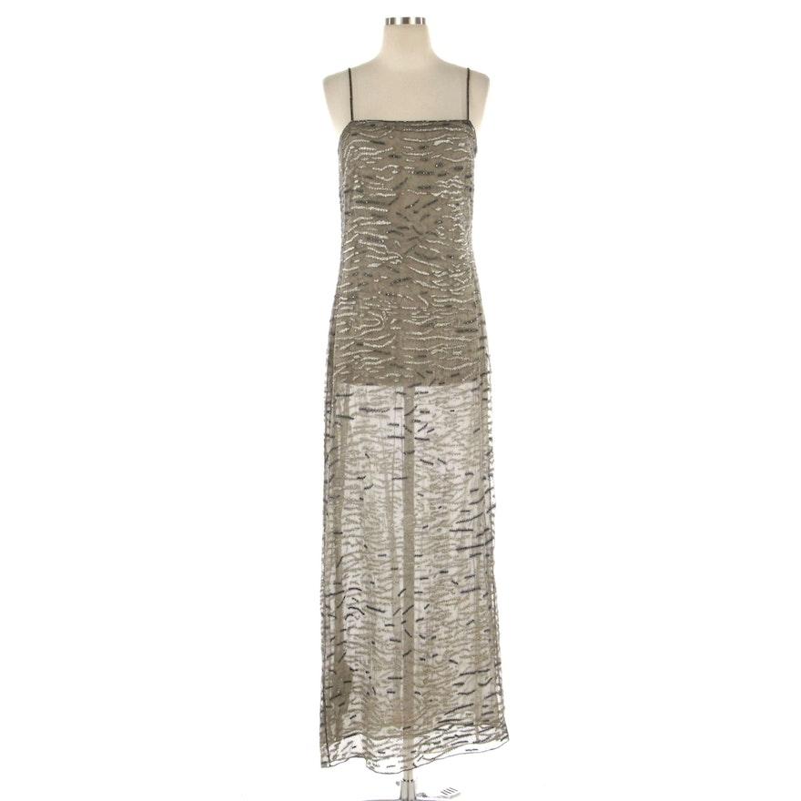 Giorgio Armani Bead Embellished Spaghetti Strap Evening Dress