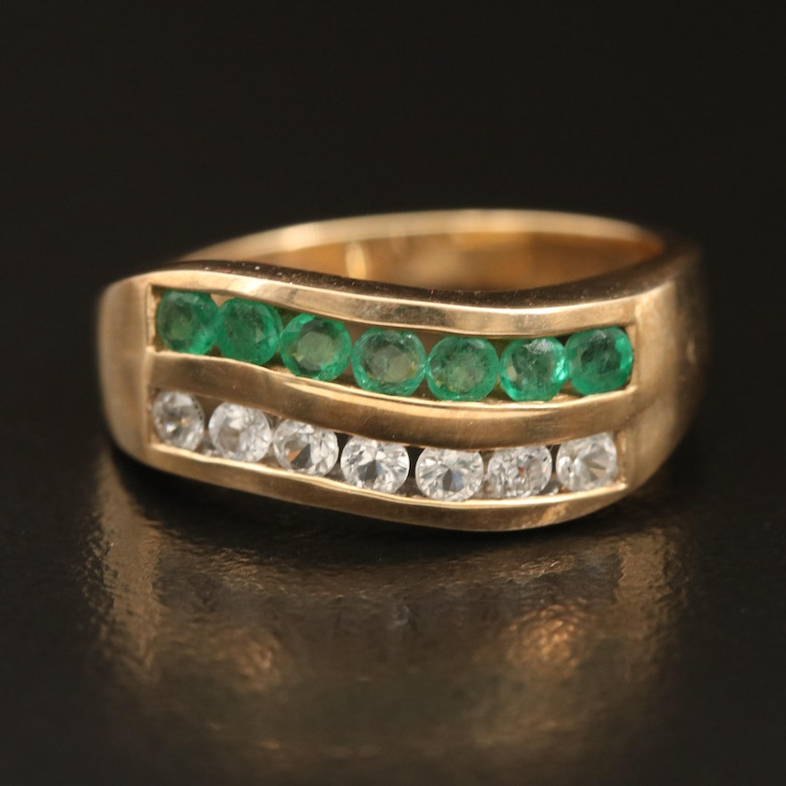10K Emerald and Sapphire Channel Double Row Wave Ring