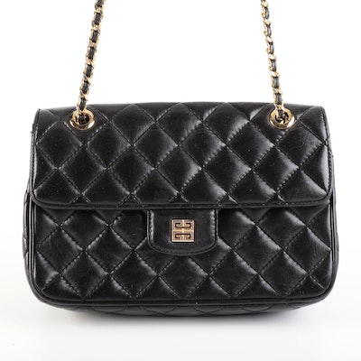 Givenchy Quilted Black Leather Front Flap Bag with Interwoven Chain Strap
