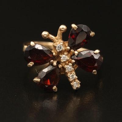 10K Garnet and Diamond Butterfly Ring