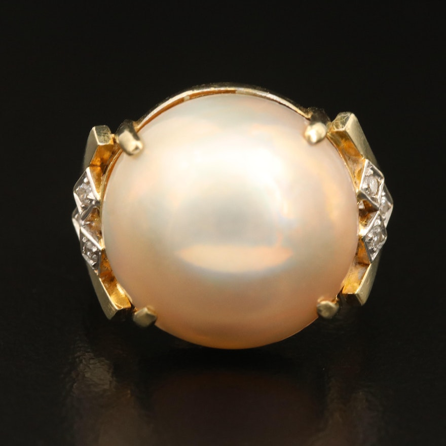 14K Mabé Pearl and Diamond Ring