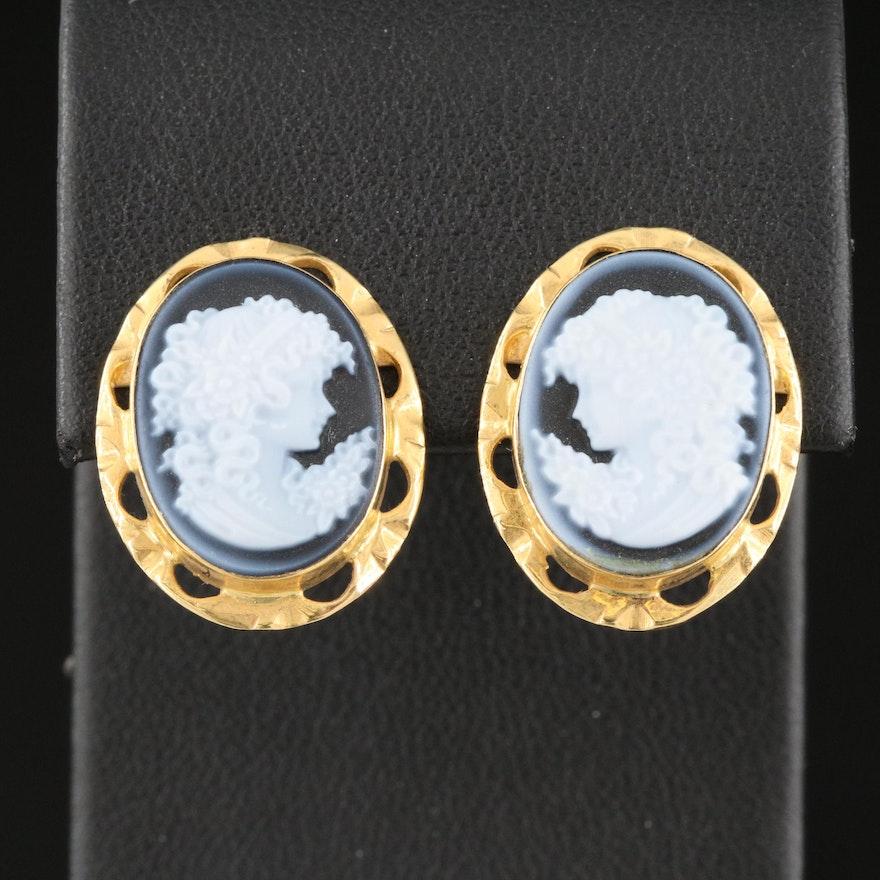 18K Carved Onyx Cameo Earrings
