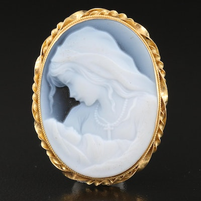 Italian 18K Carved Onyx Mother and Child Cameo Converter Brooch