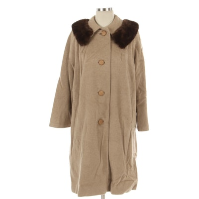Cashmere Button-Front Coat with Raglan Sleeves and Mink Fur Collar