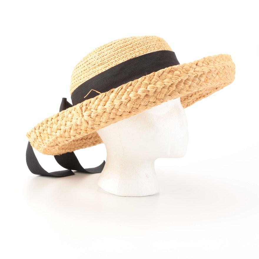 Helen Kaminski Tess Raffia Kettle-Brim Hat with Box