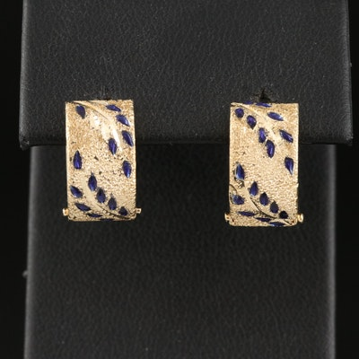 14K Textured Huggie Earrings with Foliate Pattern