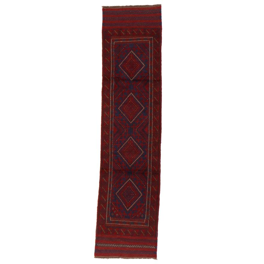 2'1 x 8'7 Hand-Knotted Afghan Turkmen Mixed Technique Carpet Runner