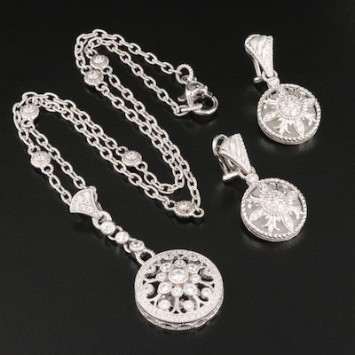 Judith Ripka Sterling Silver Cubic Zirconia Necklace and Earrings
