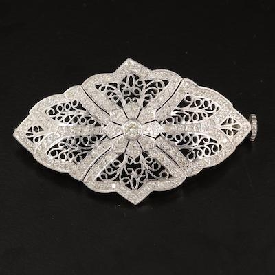 Vintage 14K 2.40 CTW Diamond Filigree Brooch