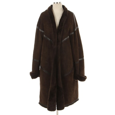 Escada Margaretha Ley Brown Shearling, Suede, and Leather Coat