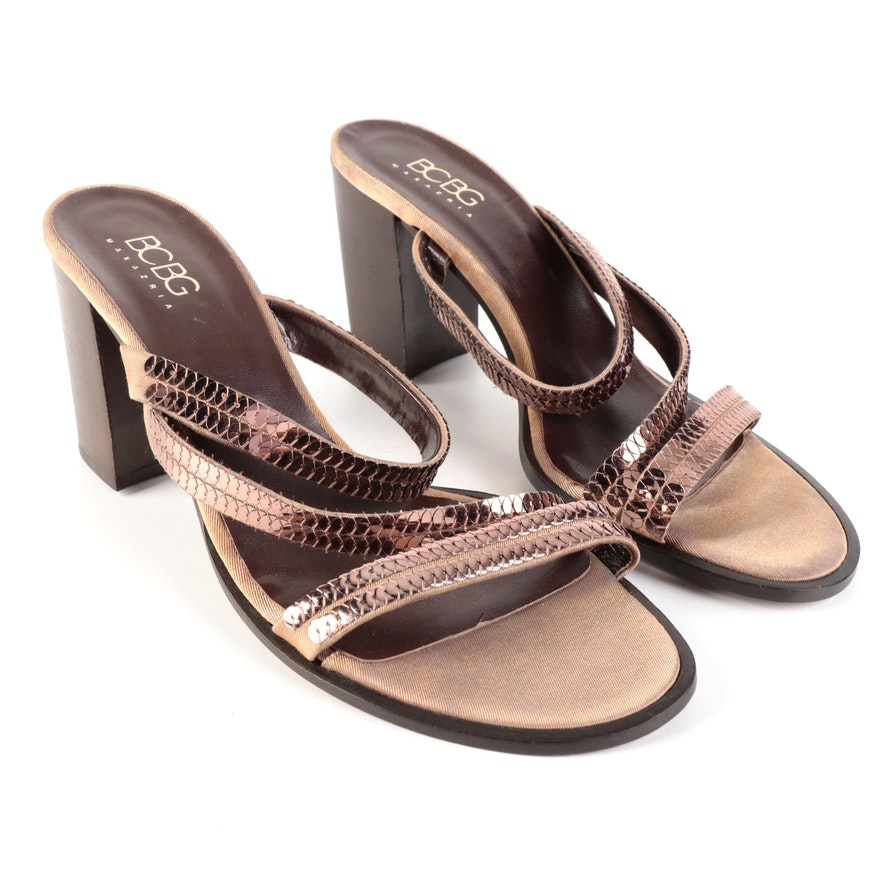 BCBG Max Azria Sequined Textile Block Heel Sandals