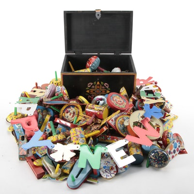Hand-Painted Wood Chest and Metal Noise Makers, Early to Mid 20th Century
