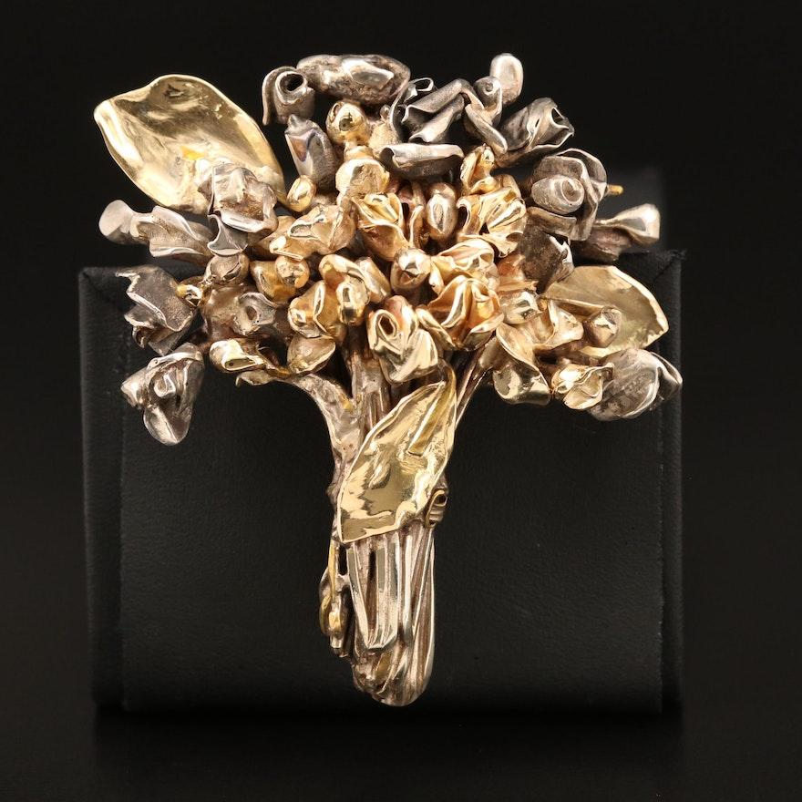Sterling Bouquet Brooch