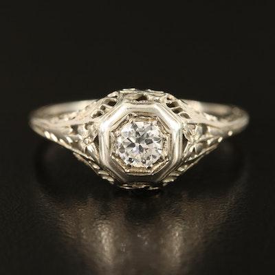 Art Deco 18K 0.35 CT Diamond Ring