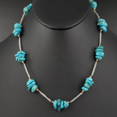 14K Turquoise Nugget Station Necklace